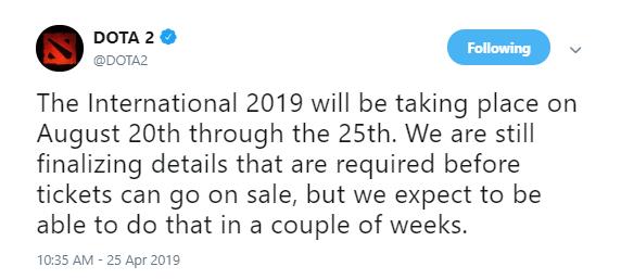 Dota2官方宣布! Ti9淘汰赛将于8月20日-25日开赛