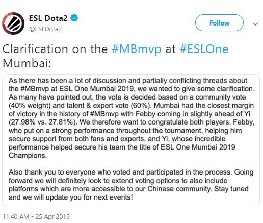 《Dota2》ESL奔驰事件官方回应 Febby表现出色赢得奖项