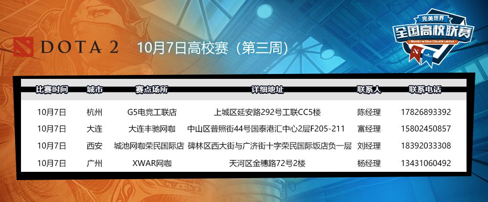 以校之名,闪耀赛场!10月7日高校赛转战广州、大连、西安、杭州