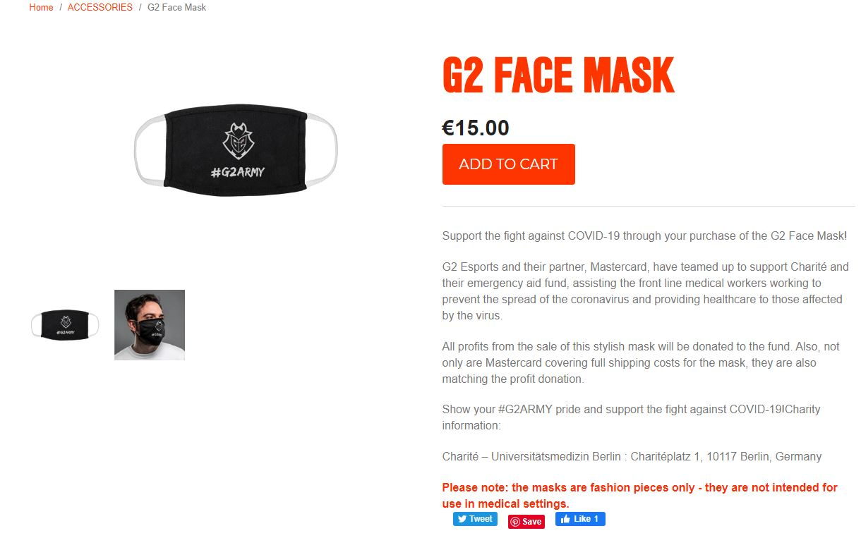 电竞俱乐部G2推出专属口罩 定价117元收益全部捐出