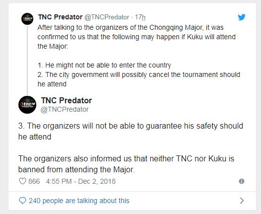 《DOTA2》TNC战队称受到重庆威胁:如果入境或取消比赛