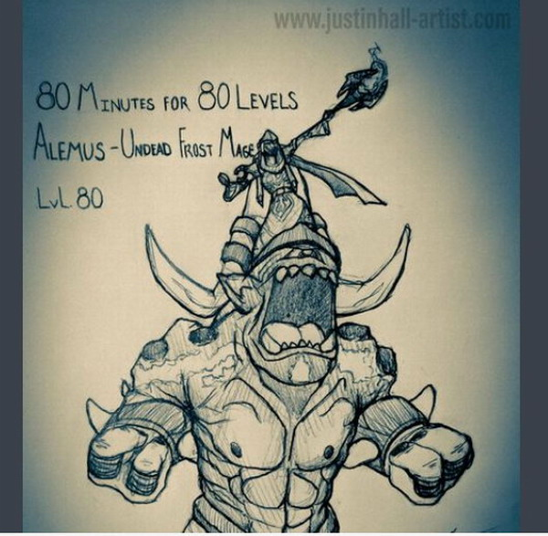 国外《魔兽》玩家手绘亡灵法师 素描记录升级全过程