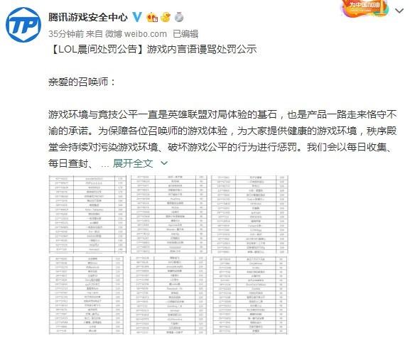 《英雄联盟》处罚22109名言语谩骂玩家 禁言30局以上