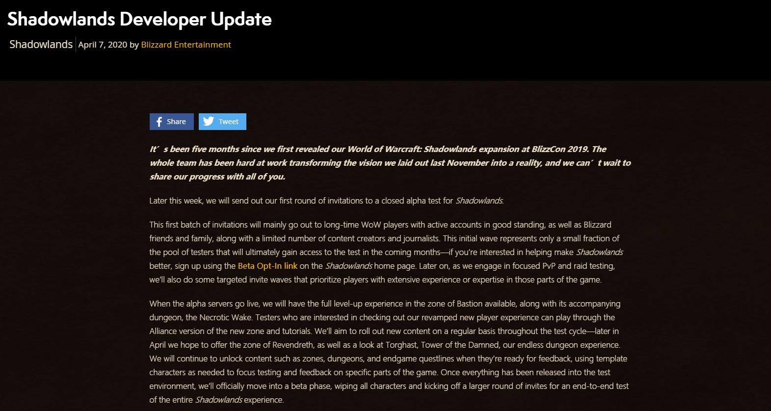 《魔兽世界》9.0暗影国度A测本周开启 基础系统将大改