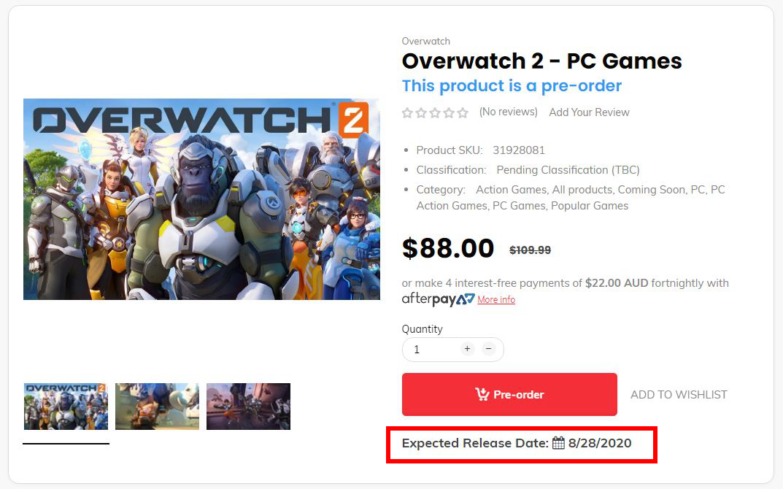 外网商城显示《守望先锋2》8月28日发售 定价90美元左右