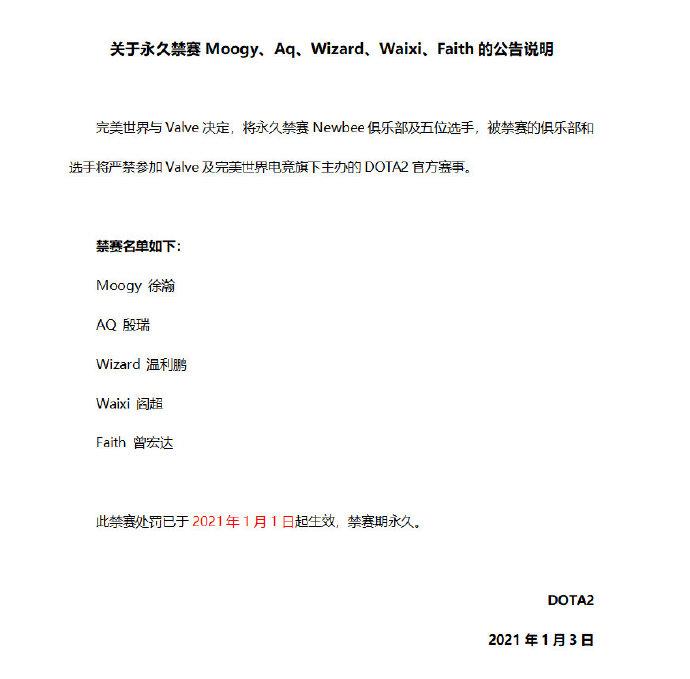 《DOTA2》官方宣布:完美世界和V社永久禁赛Newbee俱乐部及五位选手