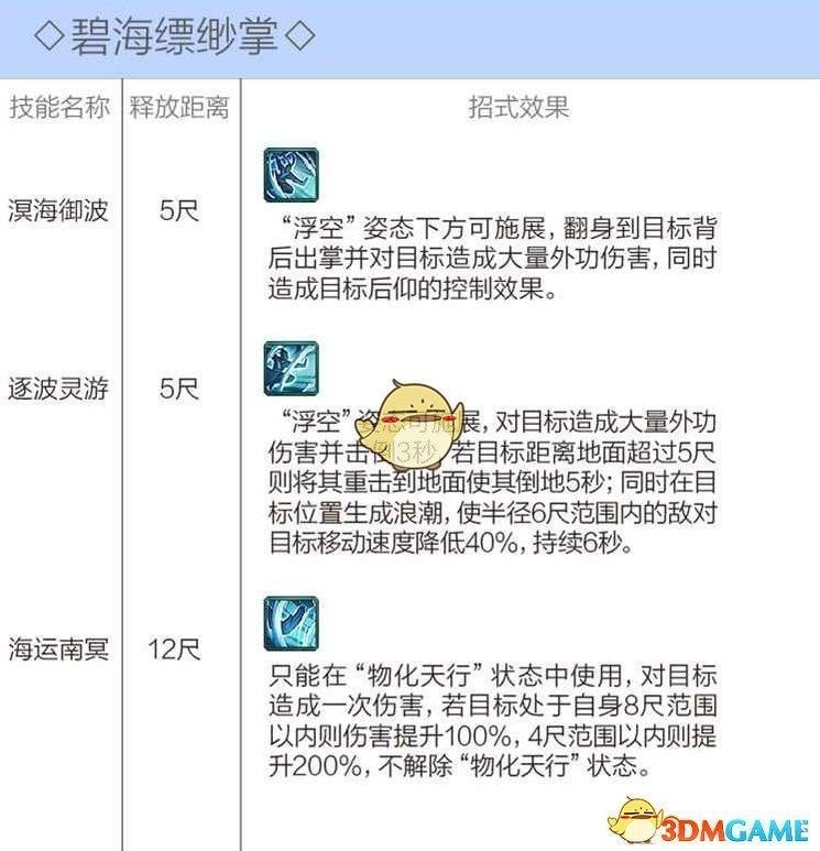 《剑网3》蓬莱技能介绍