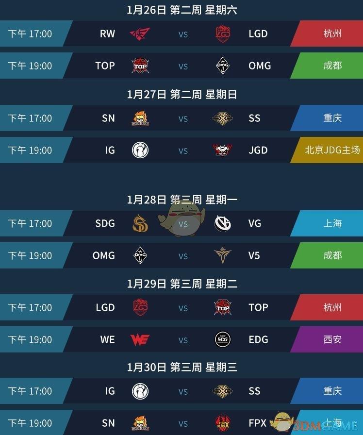 《LPL》2019春季常规赛赛程预览