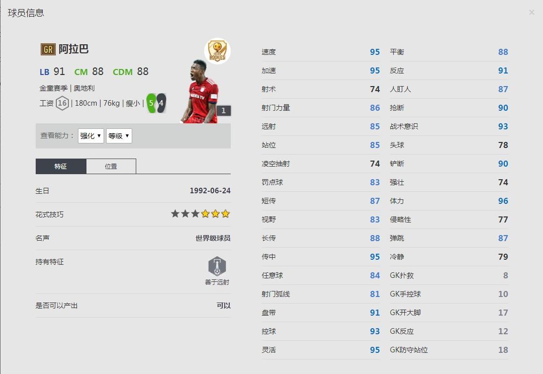 《FIFA online4》金童赛季/阿拉巴详细数据一览