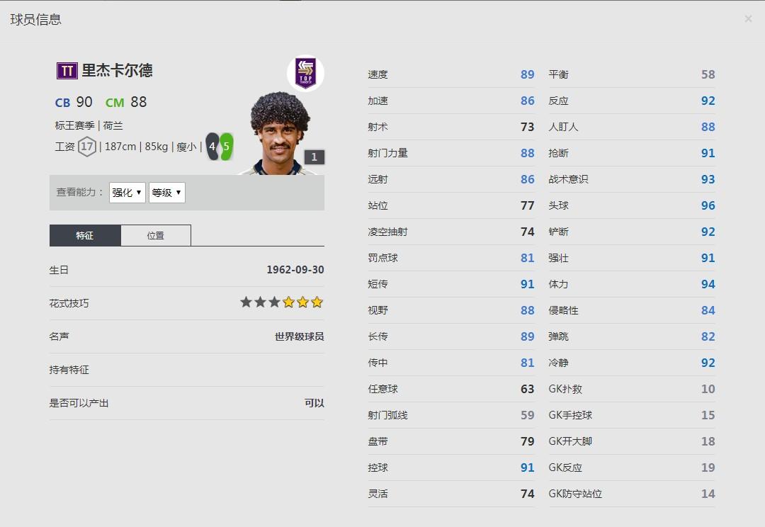 《FIFA online4》标王赛季/里杰卡尔德详细数据一览