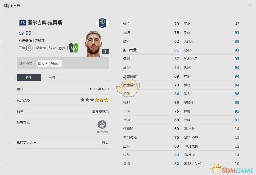 《FIFA online4》塞尔吉奥·拉莫斯球员信息