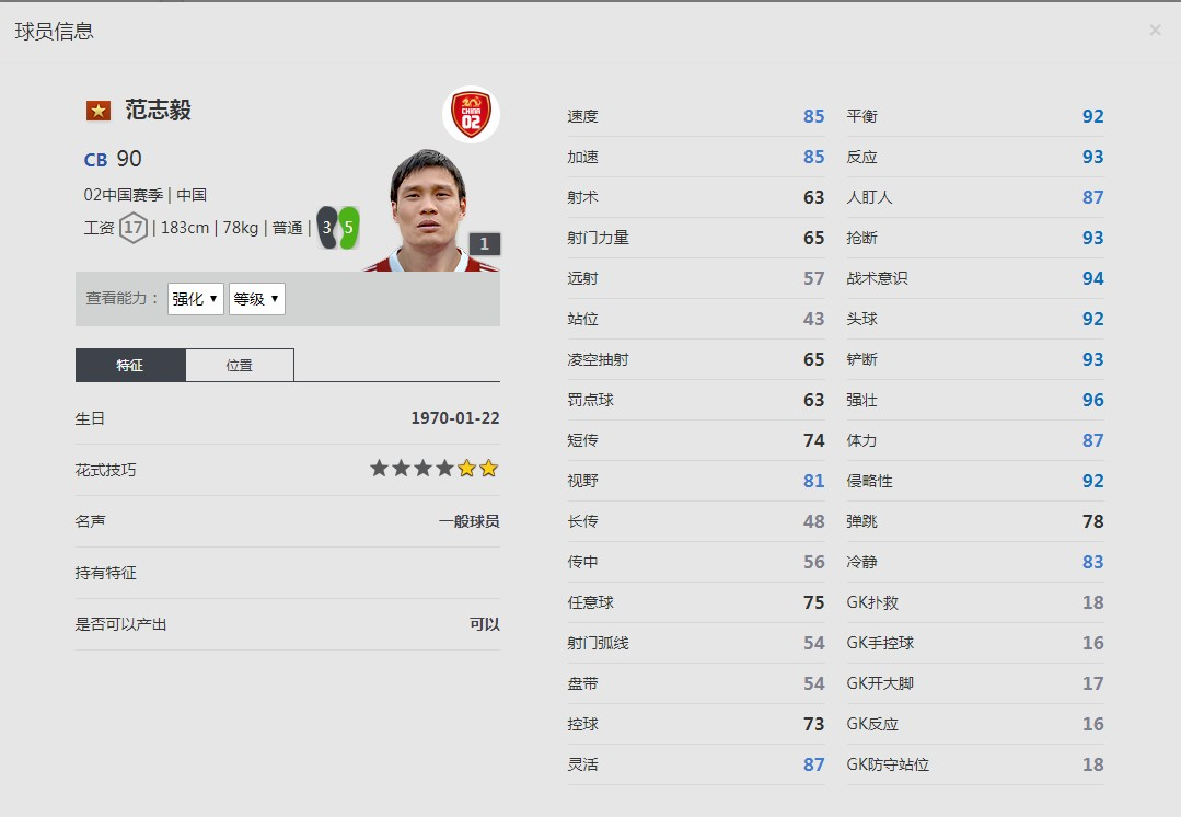 《FIFA online4》范志毅球员信息