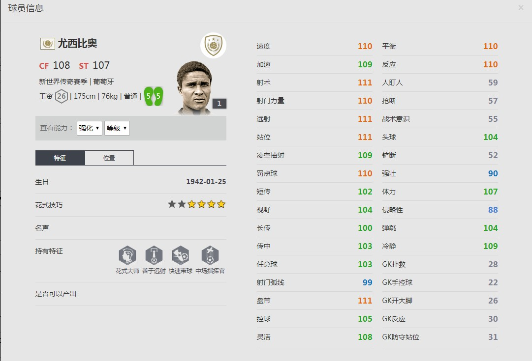 《FIFA online4》尤西比奥球员信息
