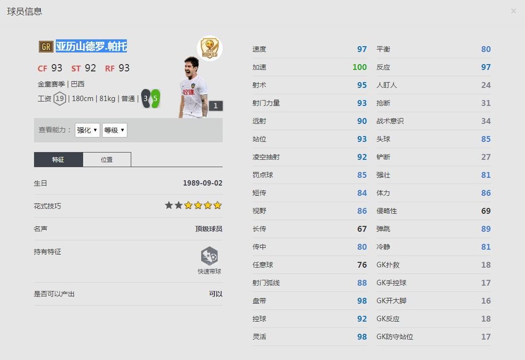 《FIFA online4》亚历山德罗.帕托球员信息