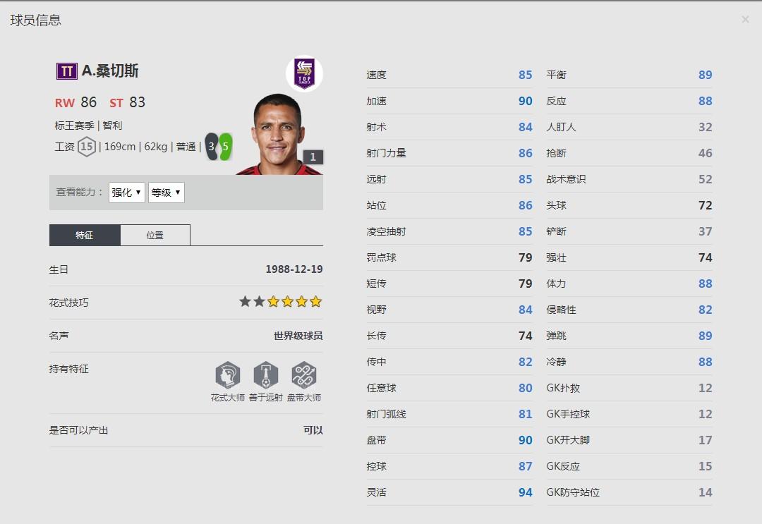 《FIFA online4》A·桑切斯球员信息
