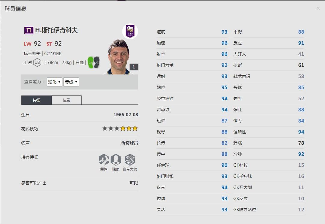 《FIFA online4》H·斯托伊奇科夫球员信息