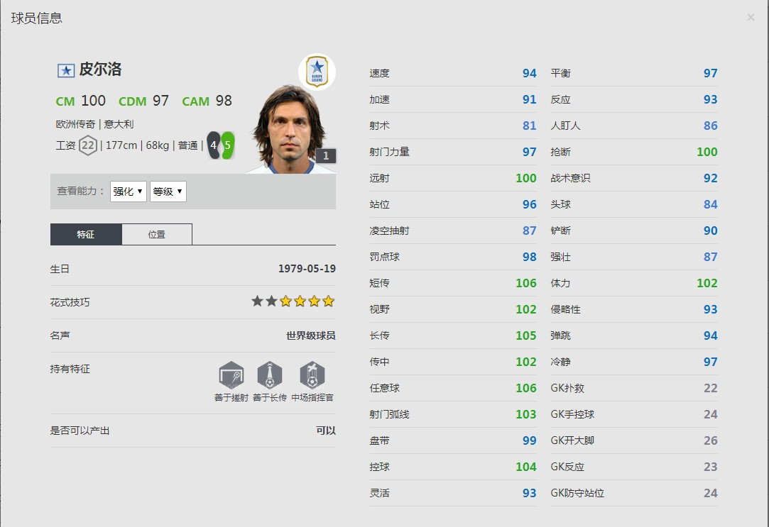 《FIFA online4》皮尔洛球员信息