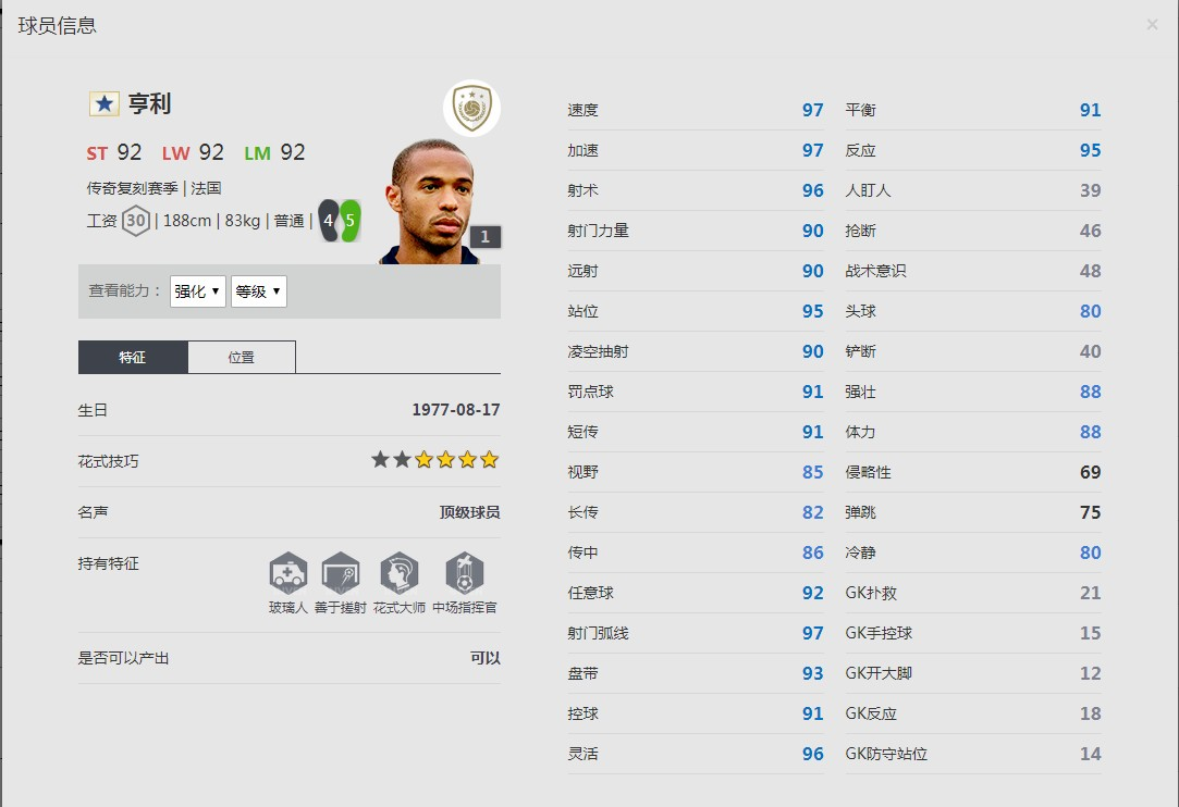 《FIFA online4》亨利球员信息