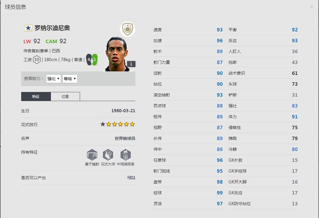 《FIFA online4》 罗纳尔迪尼奥球员信息