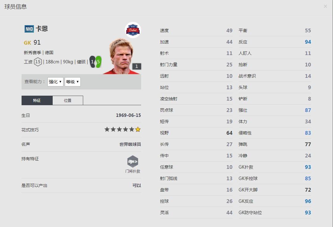 《FIFA online4》卡恩球员信息