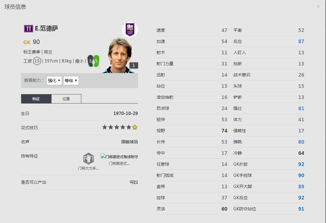 《FIFA online4》E.范德萨球员信息