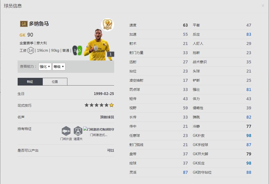 《FIFA online4》多纳鲁马球员信息