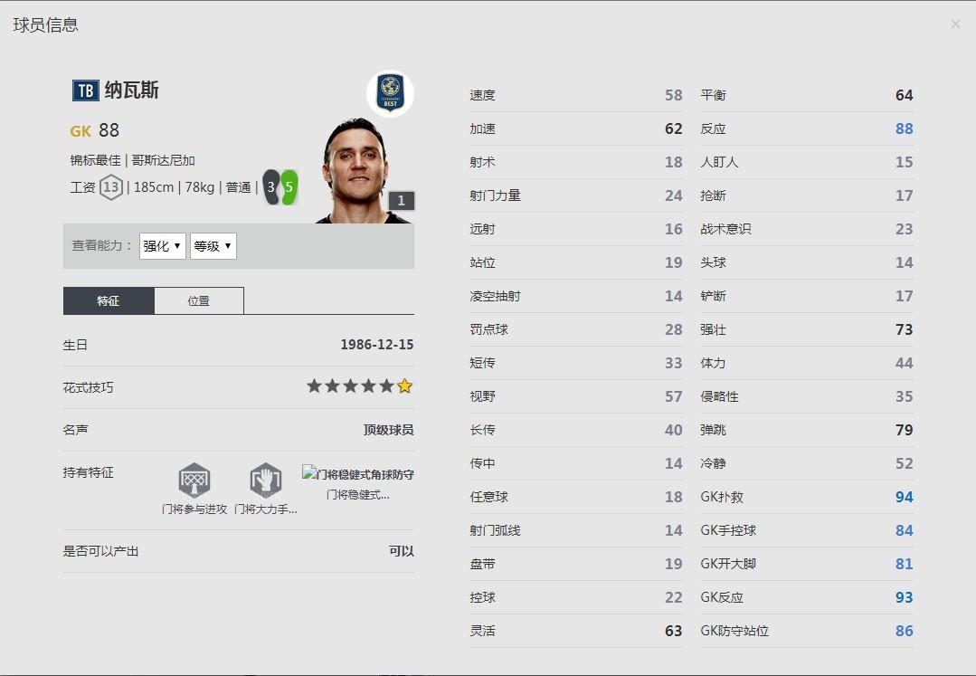 《FIFA online4》纳瓦斯球员信息