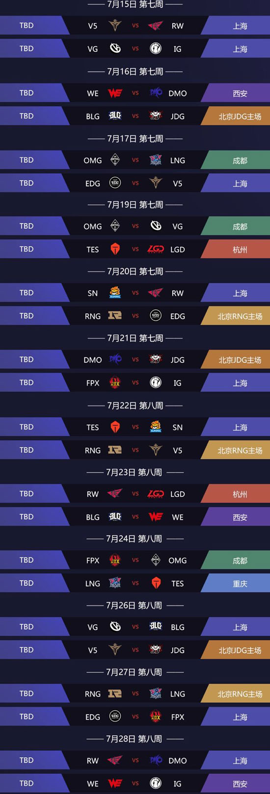 《LOL》LPL夏季赛2019赛程表
