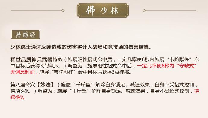 《剑网3》怒海争锋少林第二次技改一览