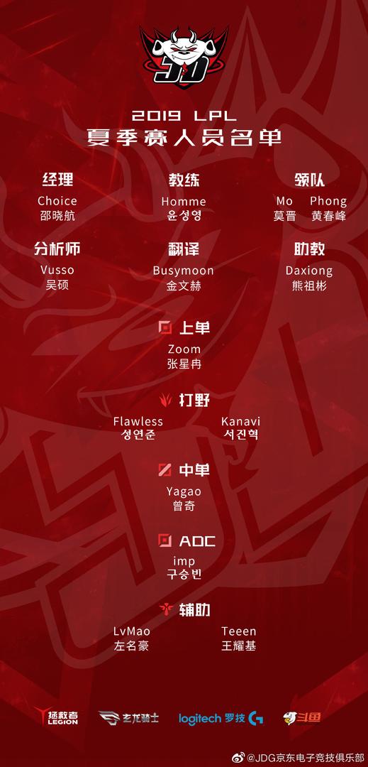 JDG战队官宣2019LPL夏季赛参数人员名单
