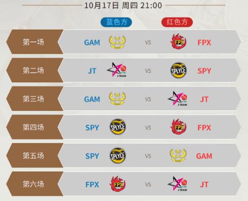 《LOL》S9总决赛10月17日比赛赛程